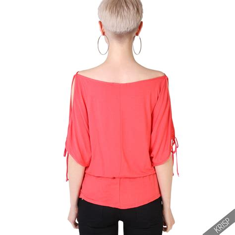 womens split sleeve blouse cold shoulder oversized shirt