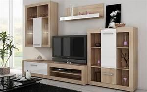Meuble Mural Salon : meuble tv suspendu blanc pas cher ~ Teatrodelosmanantiales.com Idées de Décoration