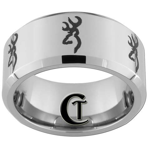browning wedding rings tungsten band 10mm beveled browning design ring by customtungsten 49 00 my style pinterest