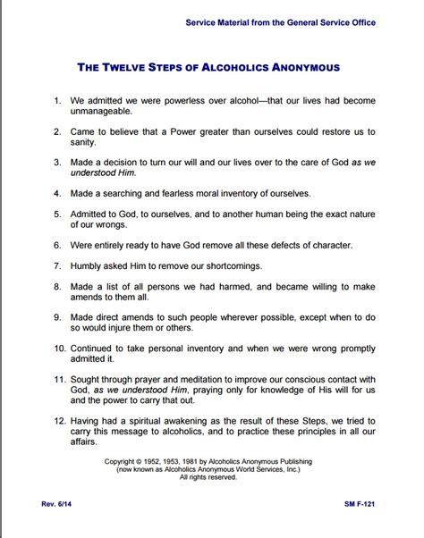 printables alcoholics anonymous 12 steps worksheets