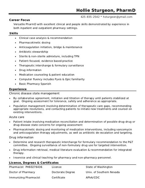 clinical pharmacist resume resume format