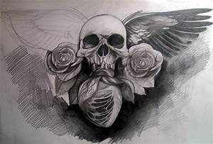 Image Gallery hearts skulls and roses