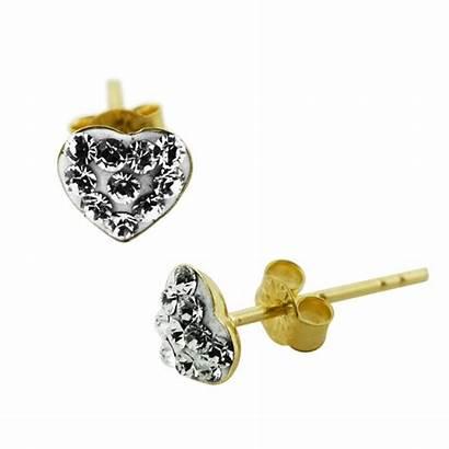 Jeweled 9k Gold Stud Ear Multi Heart