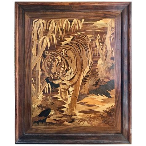 marquetry inlaid wooden wall art  tiger  sale  stdibs