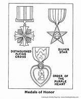 Coloring Pages Memorial Armed Forces Veterans Sheets Printables Medals Honor Usa Service Crafts Activities American Military Flying Preschool Medal Printable sketch template