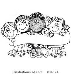 Preschool Children Clip Art Black and White