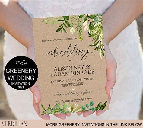 rustic wedding invitation template greenery watercolor