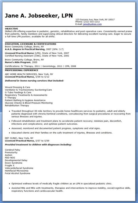 sample resume licensed practical nurse lpn resume objectives free excel templates