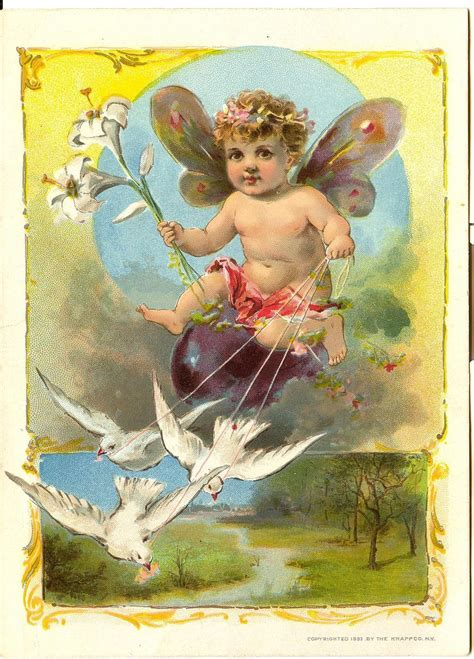 cupid fairy dove easter trade card print woolson