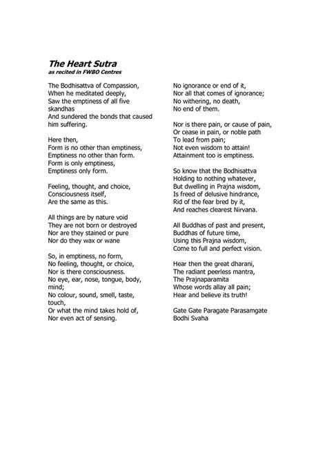 English translation of the Heart Sutra 般若心経 | Buddha