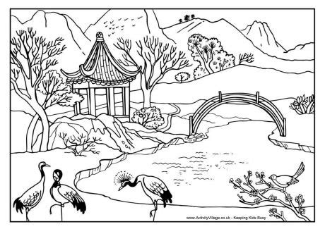 chinese scene colouring page