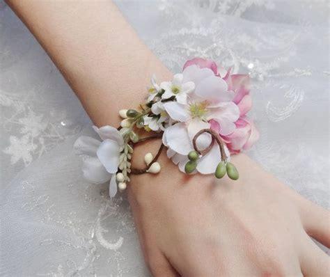 wedding cuff bracelet bridal bracelet pink flower