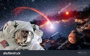 Astronaut Planet Mars Spaceman Helmet Comet Stock Photo ...