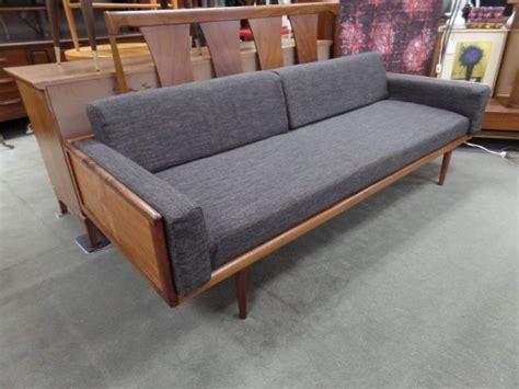 walnut framed mcm sofa   grey upholstery  peg leg vintage  beltsville md attic