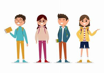 Students Character Background Different Vector Isolated Teen