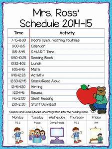 class schedule freebie the teacher39s cauldron With kindergarten timetable template