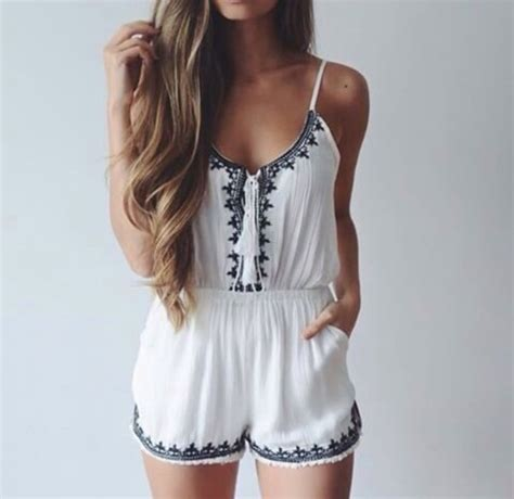 jumpsuit white romper summer long hair romper shorts