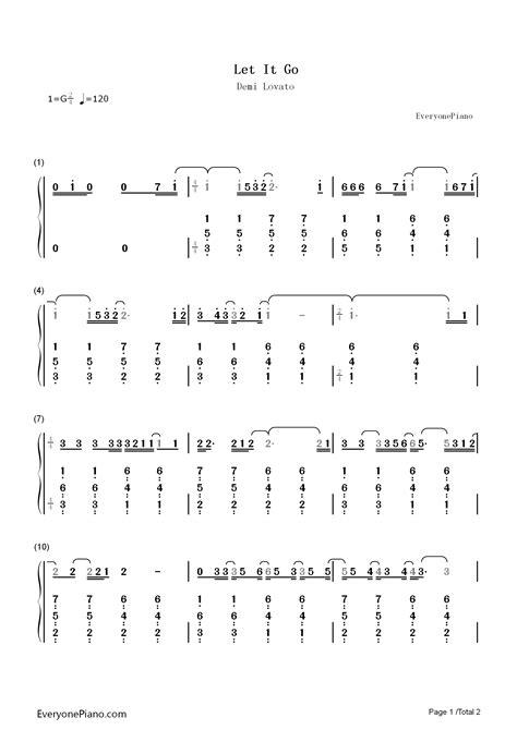 How to play on a piano. Let It Go-Demi Lovato双手简谱预览1-钢琴谱文件(五线谱、双手简谱、数字谱、Midi、PDF)免费下载