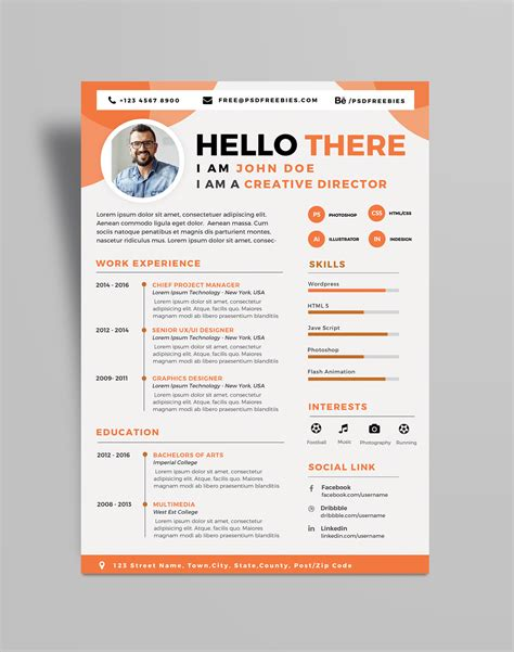 Free Professional Resume Template Psd by Free Professional Resume Cv Design Template Psd