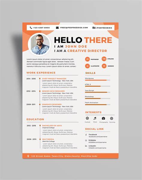 free professional resume cv design template psd