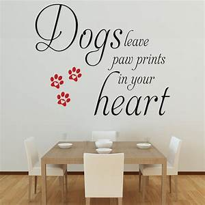 dogs leave paw prints wall decal quote sticker lounge With cute paw print wall decals ideas for home