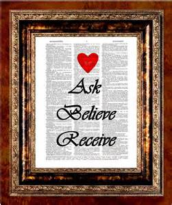 Items similar to Ask Believe Receive Heart - Inspirational ...