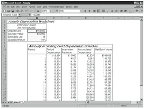 annuity or sinking fund depreciation starter workbook