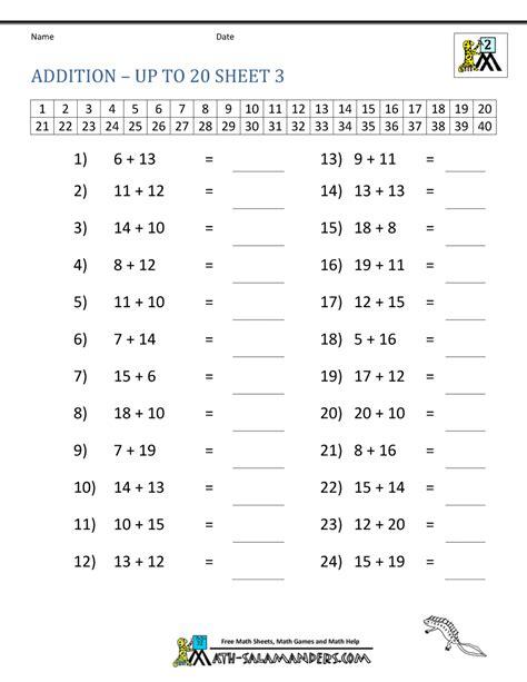 math addition facts  grade