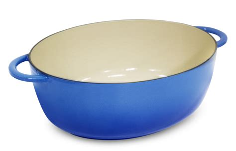 fontignac cast iron oval dutch oven  quart blue cutlery