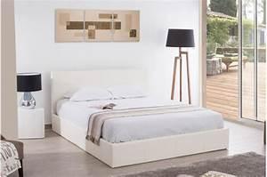 Lit 180x200 Blanc : lit coffre 180x200 blanc mona design sur sofactory ~ Teatrodelosmanantiales.com Idées de Décoration