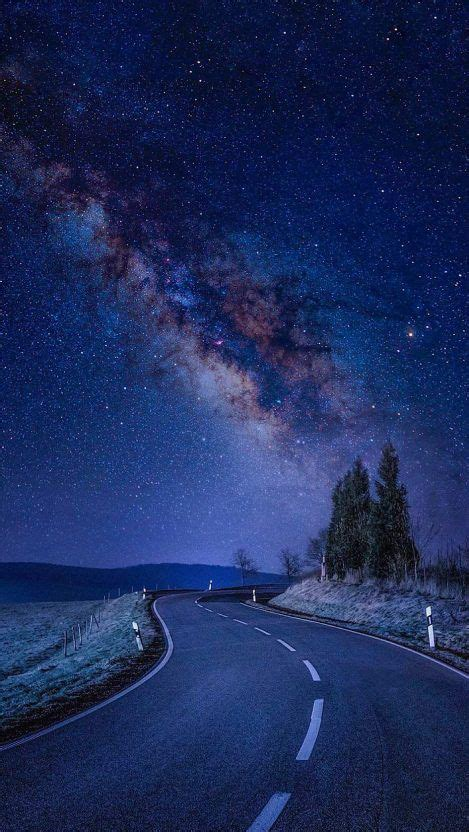 Starry Night Road Galaxy Stars Iphone Wallpaper