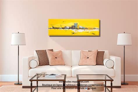 tableau chambre à coucher tableau jaune grand format panoramique abstrait