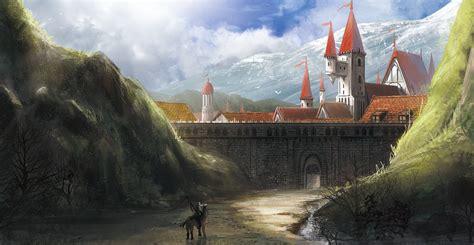 knight artwork fantasy art castle mountains horse