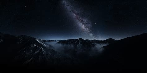 Wallpaper Dark Galaxy Landscape Long
