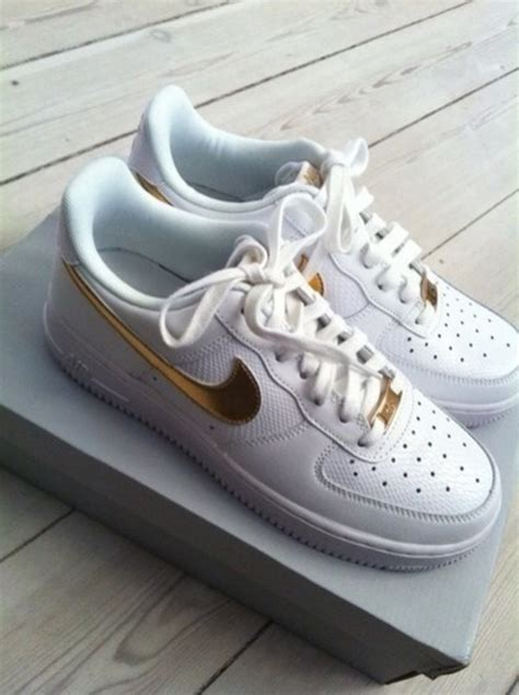 shoes gold white nike sneakers  rhinestones  tick