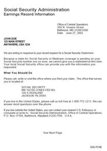 Social Security Benefit Verification Letter