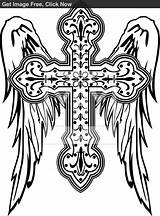 Cross Coloring Pages Tribal Wings Tattoo Tattoos Crosses Vectors Wing Angle Colouring Sketch Adult Printable Angles Vector sketch template
