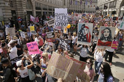 Demonstrators mock Donald Trump; protest his visit to the ...