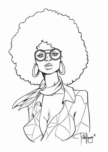 Coloring African Pages American Afro Woman Adult