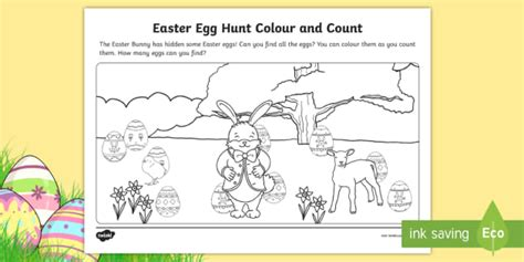 * New * Easter Egg Hunt Colour And Count Worksheet