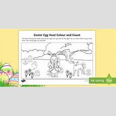 * New * Easter Egg Hunt Colour And Count Worksheet