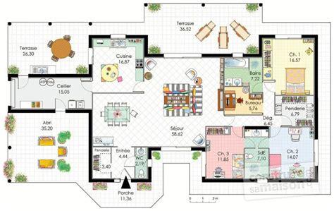 plan maison plain pied 3 chambres 1 bureau demeure de plain pied dé du plan de demeure de plain