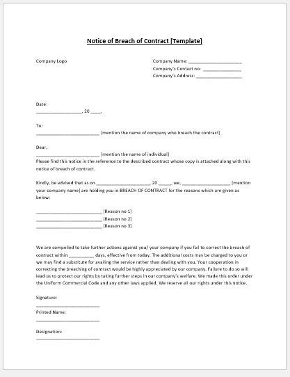 breach  contract notice template ms word microsoft