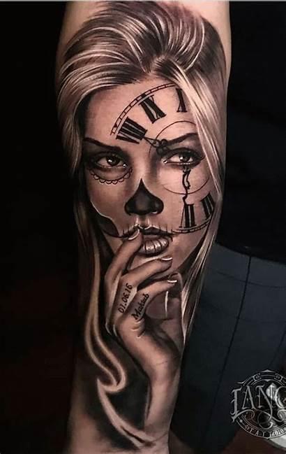Tattoo Skull Tattoos Girly Face Sugar Sleeve