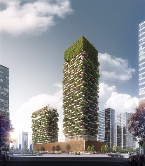 stefano boeri architetti unveils plans  vertical forest towers  nanjing archdaily