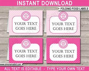 princess party food labels place cards princess With food labels for party template