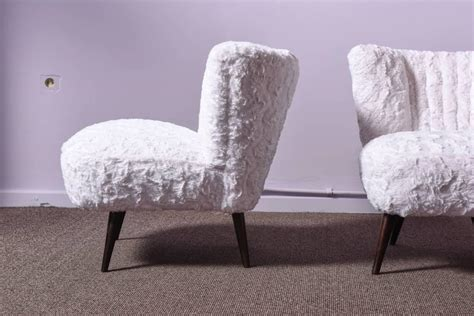 pair of cocktail chairs in faux fur for sale at 1stdibs