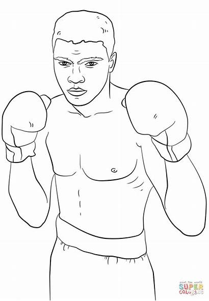 Ali Muhammad Coloring Boxing Pages Printable Clip