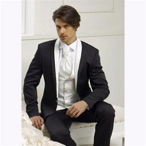 piece black mens dinner party prom suits  groom