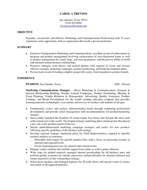 resume internship objective resume cover letter exle